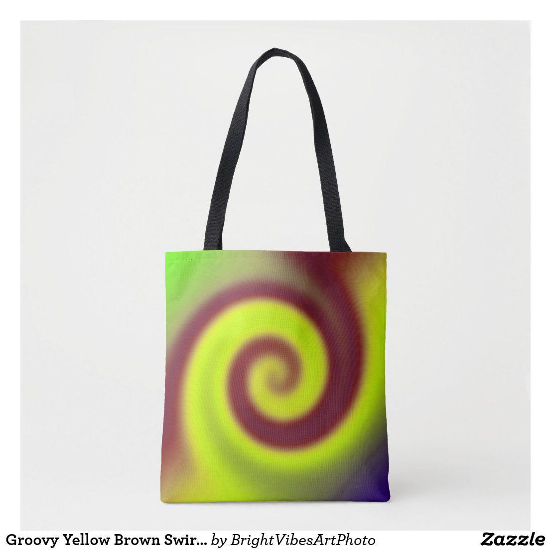 Groovy Yellow Brown Swirl Abstract Tote Bag