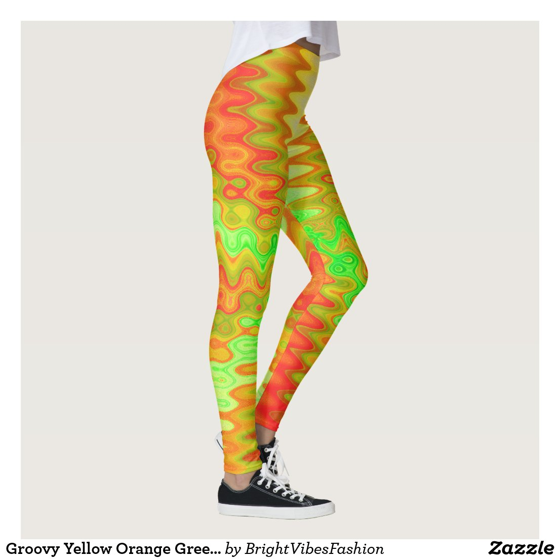 Groovy Yellow Orange Green Abstract Leggings