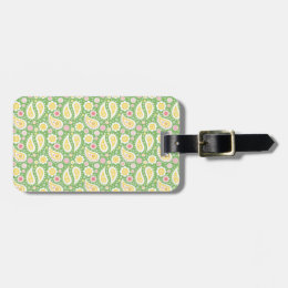 Groovy Yellow Paisley on Spring Green Bag Tag