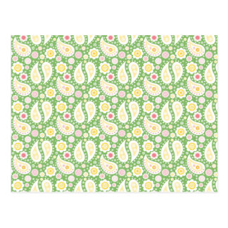 Groovy Yellow Paisley on Spring Green Postcard