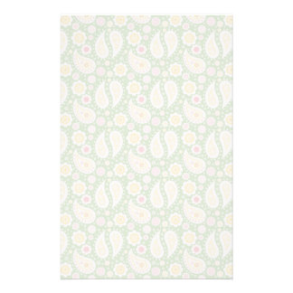 Groovy Yellow Paisley on Spring Green Stationery