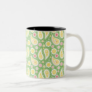 Groovy Yellow Paisley on Spring Green Two-Tone Coffee Mug