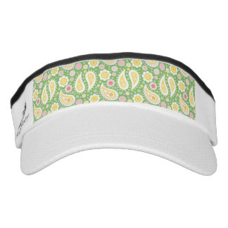 Groovy Yellow Paisley on Spring Green Visor