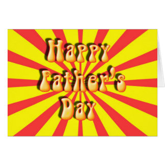 Groovy Yellow & Red Retro Father's Day Greeting Card