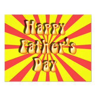 Groovy Yellow & Red Retro Father's Day 4.25x5.5 Paper Invitation Card