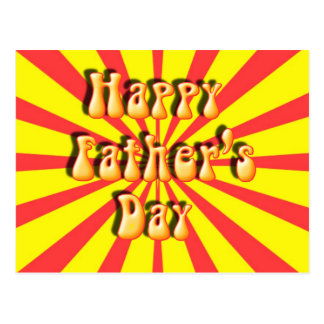 Groovy Yellow & Red Retro Father's Day Postcard