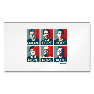 Grope Dope Hope Nope Pope Vote Hillary Magnetic Business Cards (Pack Of 25)