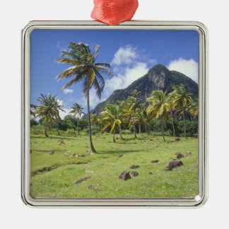 Gros Piton view along the historic trail in Square Metal Christmas Ornament