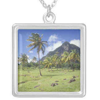 Gros Piton view along the historic trail in Silver Plated Necklace