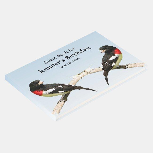 Grosbeak Bird Birthday Party Guest Book
