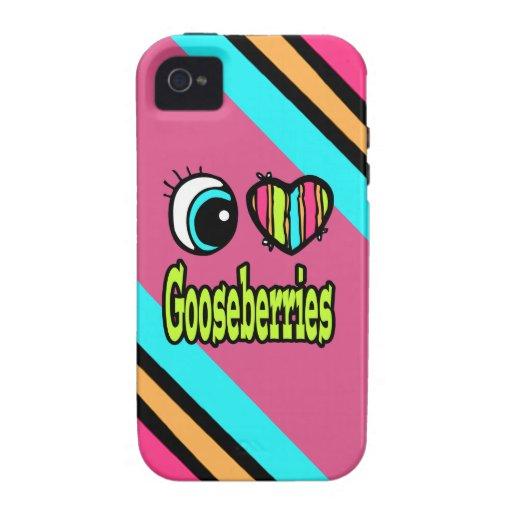 Grosellas espinosas brillantes del amor del corazó Case-Mate iPhone 4 carcasa