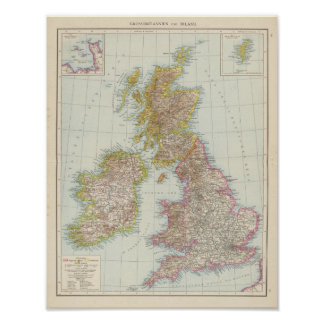 Grossbritannien, Irland - Map of UK, Ireland Poster
