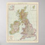 Grossbritannien, Irland - mapa de Reino Unido, Irl Póster