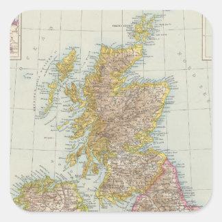 Grossbritannien, Irland - mapa de Reino Unido, Pegatina Cuadrada