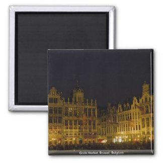 Grote Market, Brussel, Belgium 2 Inch Square Magnet