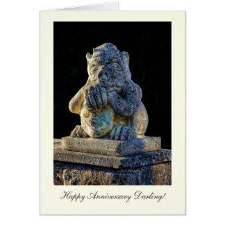 Grotesque cuidadoso de cuernos - querido feliz de tarjeta de felicitación