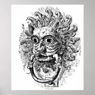 Grotesque Door Knocker Engraving Poster