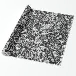 Grotesque Garden Black and White Wrapping Paper