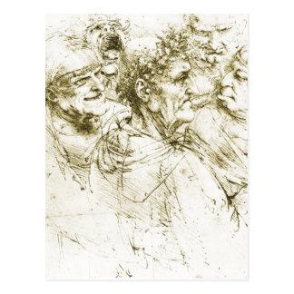 Grotesque Heads Leonardo da Vinci Date : circa 149 Postcard