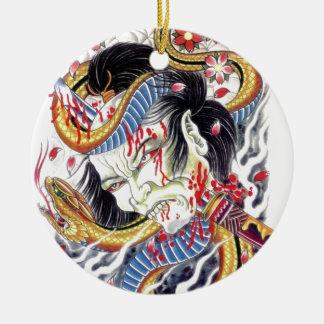 Grotesque & Snake Tattoo Design Ceramic Ornament