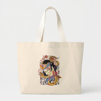 Grotesque & Snake Tattoo Design Large Tote Bag