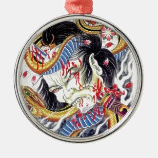 Grotesque & Snake Tattoo Design Metal Ornament