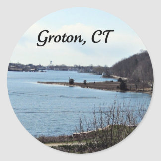 Groton, Connecticut,  Mystic River Classic Round Sticker