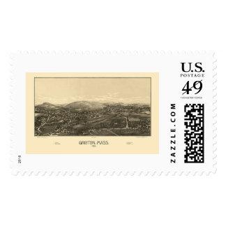 Groton, mapa panorámico del mA - 1886 Sello Postal