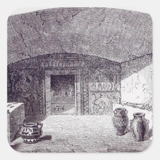 Grotta Campana a la hora de su descubrimiento Calcomanias Cuadradas