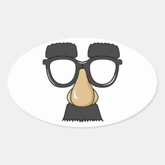 Groucho Glasses (a.k.a. the Beaglepuss) Oval Sticker