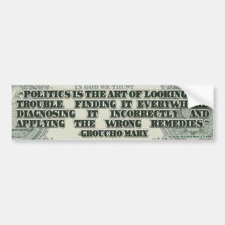 Groucho Marx en política Pegatina De Parachoque