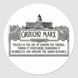 Groucho Marx on Politics Classic Round Sticker
