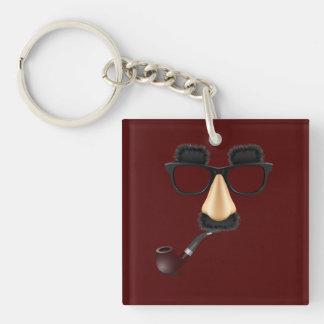 Groucho mustache pipe keychain