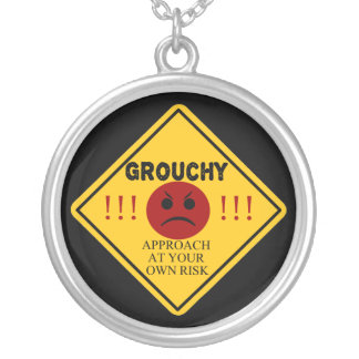 Grouchy. Approach At Your Own Risk Silver Plated Necklace