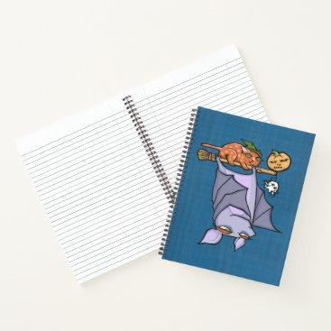 """Halloween Themed Grouchy Bat Cat Halloween 8.5""""x11"""" Spiral Notebook"""