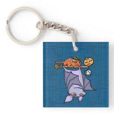 Halloween Themed Grouchy Bat Cat Halloween (double-sided) Keychain