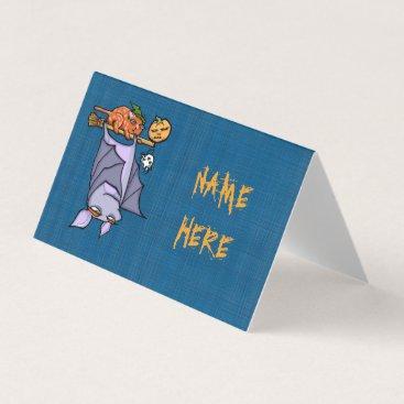 Halloween Themed Grouchy Bat Cat Halloween Folded Place Card