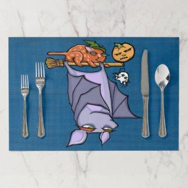 Halloween Themed Grouchy Bat Cat Halloween Large Tearaway Placemat