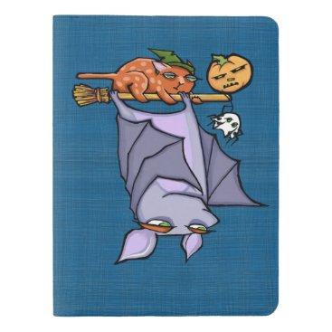 Halloween Themed Grouchy Bat Cat Halloween Notebook - Pocket