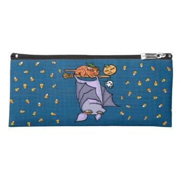 Halloween Themed Grouchy Bat Cat Halloween Pencil Case