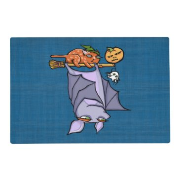Halloween Themed Grouchy Bat Cat Halloween Placemat