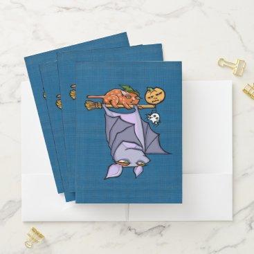 Halloween Themed Grouchy Bat Cat Halloween Pocket Folder