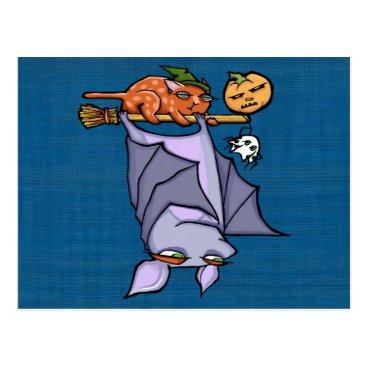 Halloween Themed Grouchy Bat Cat Halloween Postcard