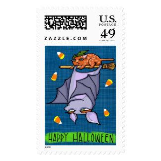 Grouchy Bat Cat Halloween Stamp