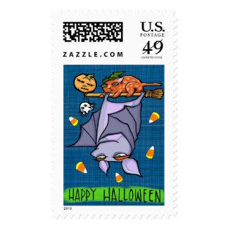 Grouchy Bat Halloween Stamp
