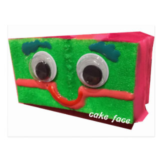grouchy cake cake face with logo postcard