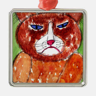 Grouchy Cat Metal Ornament