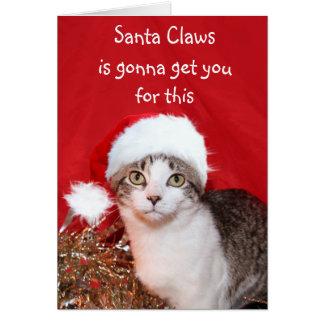 Grouchy Christmas cat Card