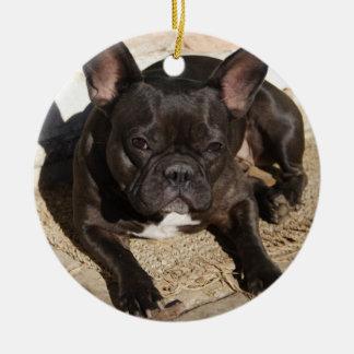 Grouchy French Bulldog Ceramic Ornament