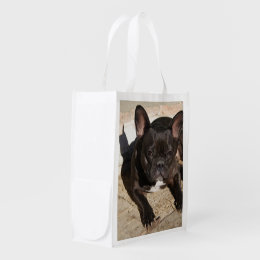 Grouchy French Bulldog Grocery Bag